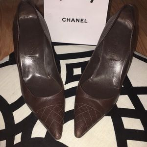 Chanel classic Brown Leather Heels EUC size 36/6